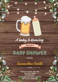 Greenery brewing shower invitation