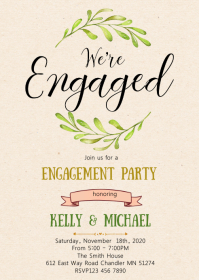Greenery engagement party invitation
