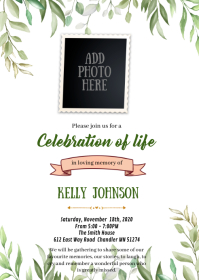 Greenery Funeral invitation A6 template