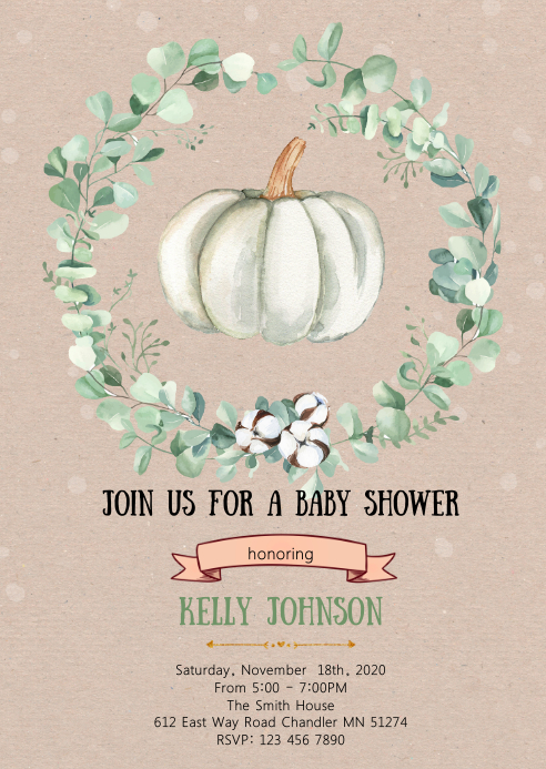 Greenery pumpkin baby shower invitation A6 template