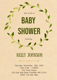 Greenery shower party invitation