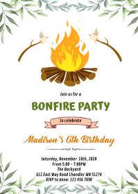 Greenery smore camp bonfire invitation A6 template