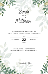 Greenery Wedding Invitation Template Half Page Wide