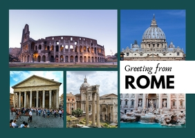 Greetings from Rome Travel Collage Postcard template