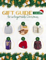 Grey & Green Christmas Gift Guide Flyer ใบปลิว (US Letter) template