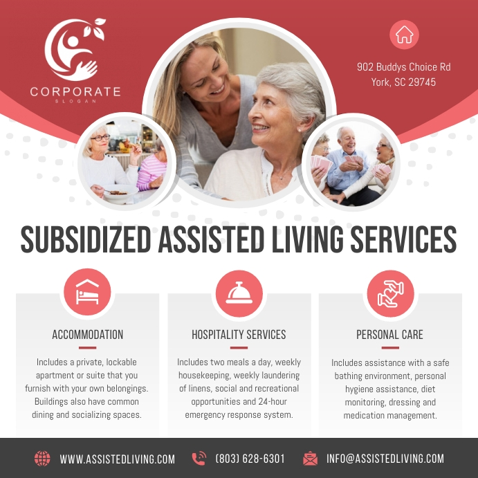 Grey & Pink Assisted Living Instagram Image template