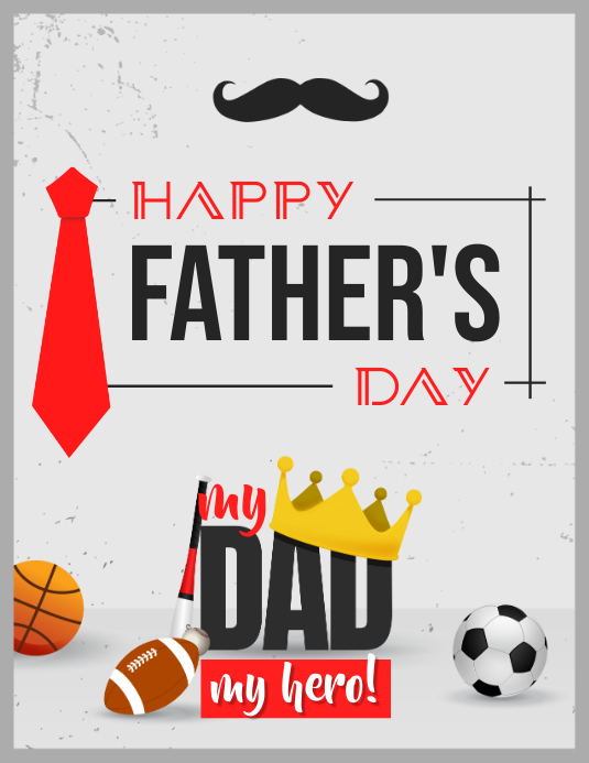 Grey & Red Father's Day Wish Flyer Template
