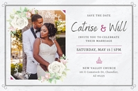 Grey African American Wedding Invitation Post Póster template