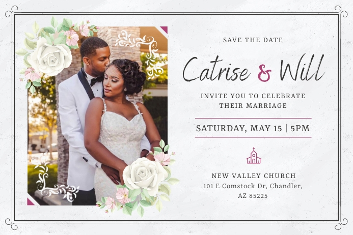 Grey African American Wedding Invitation Post Poster template