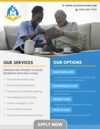 Grey and Blue Assisted Living Flyer template