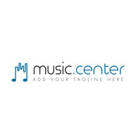 grey and blue colors music icon logo Logótipo template