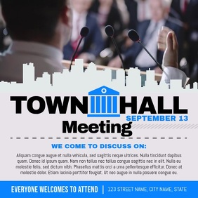 Grey and Blue Townhall Meeting Square Video