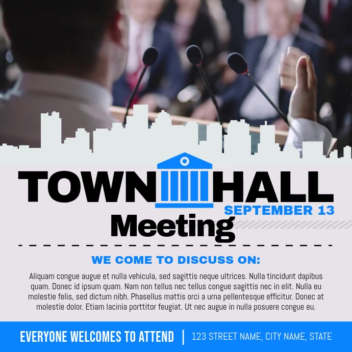 Grey and Blue Townhall Meeting Square Video สี่เหลี่ยมจัตุรัส (1:1) template