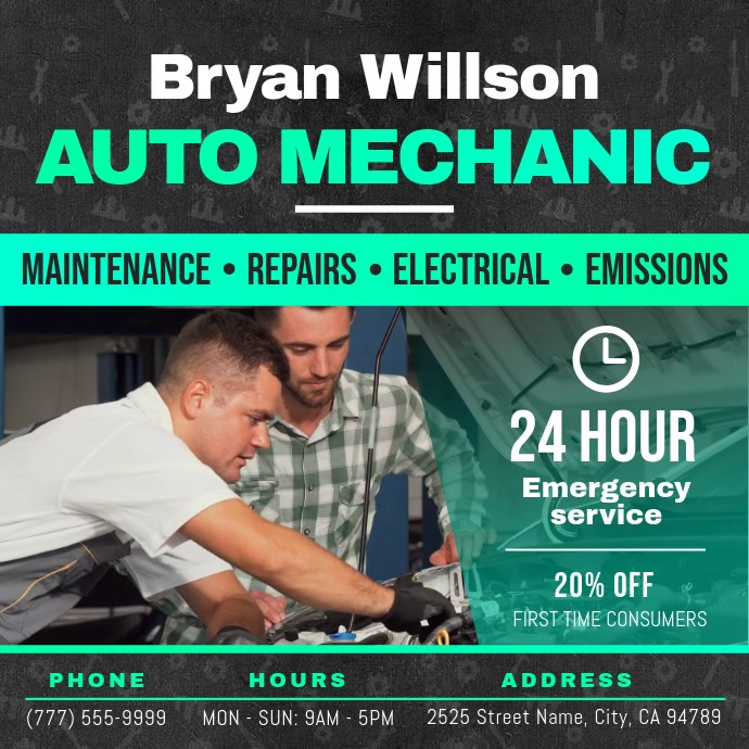 Grey and Green Car Autoservice Business Video
