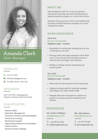 Grey and Green Corporate Resume A4 template