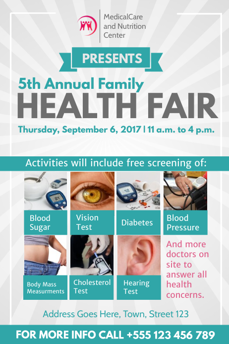 Grey and Green Health Fair Poster Template