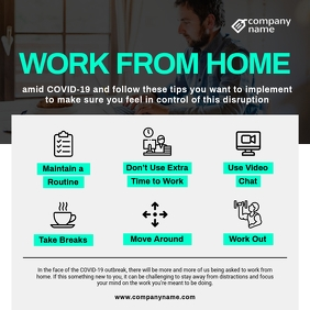 Grey and Green Work from Home Instagram