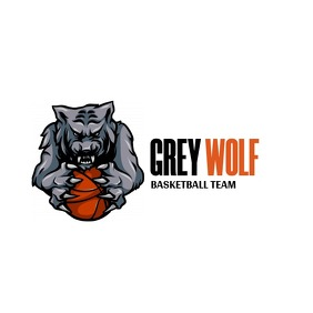 grey and orange basketball icon logo template
