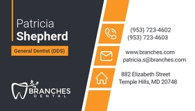 Grey and Orange Dentist Business Card