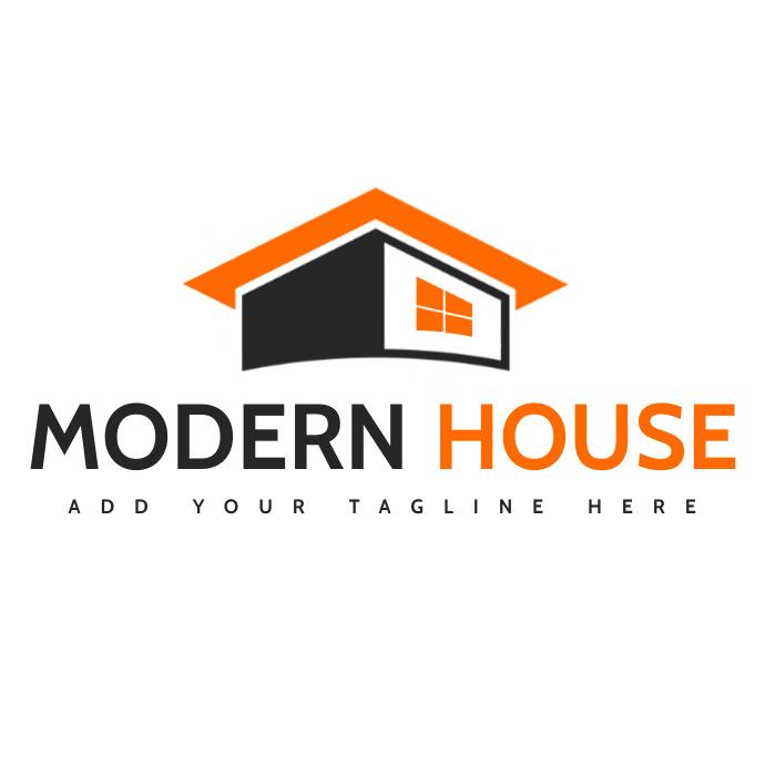 Grey and orange house real estate template de Logo