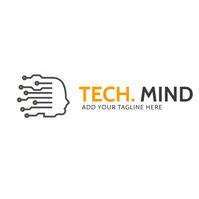 grey and orange technology logo icon template โลโก้