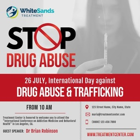 Grey and Red Drug Abuse Awareness Square Vide
