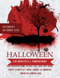 Grey and Red Halloween Flyer