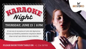 Grey and Red Karaoke Night Facebook Cover Vid template