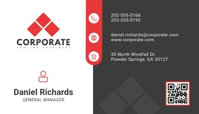 Grey and Red Modern Geometric Business Card
