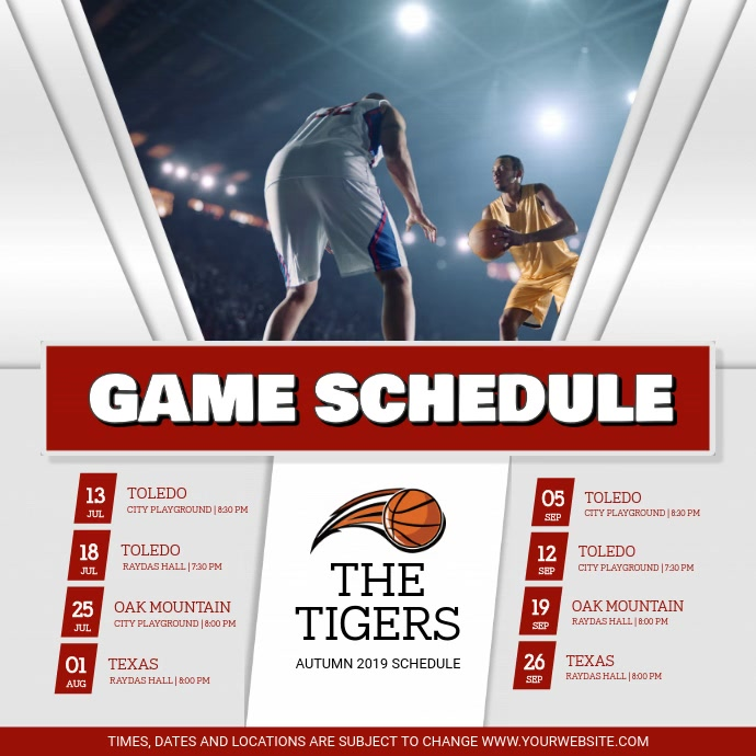 Grey and Red Sports Schedule Square Video