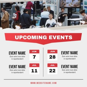Grey and Red Upcoming Events Schedule Square Video