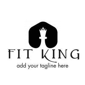 grey and white chess king icon logo template