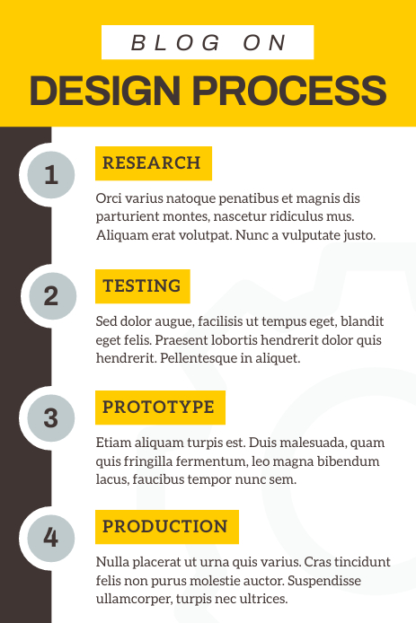 Grey and Yellow Blog Pinterest Infographic template