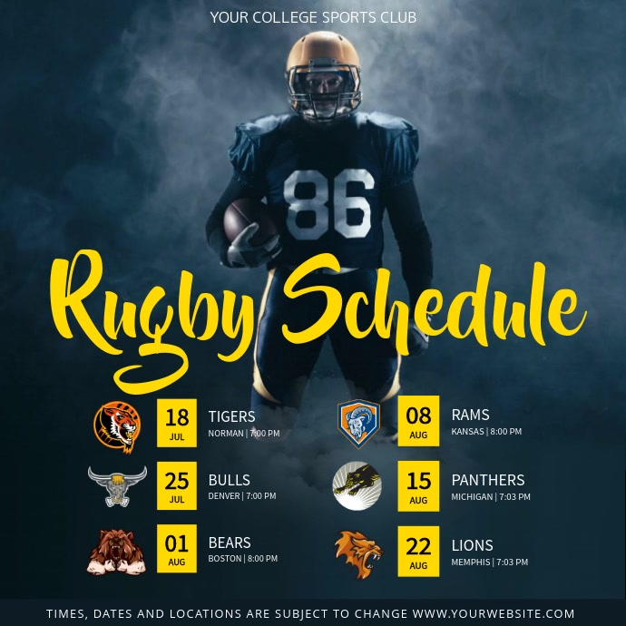 Grey and Yellow Rugby Schedule Square Video