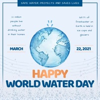Grey Animated Water Day Instagram Post template