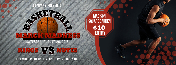 Grey Basketball March Madness Facebook Cover Photo template