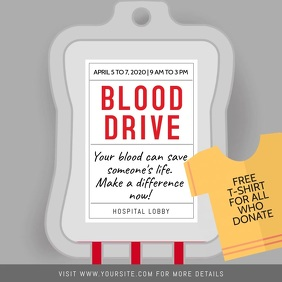 Grey Blood Donation Drive Square Video template