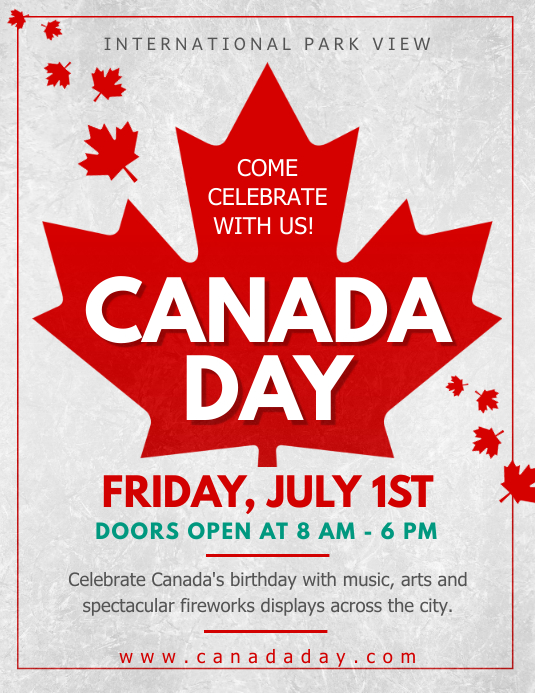 Grey Canada Day Event Flyer 传单(美国信函) template