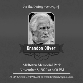 Grey Celebration of Life Card
