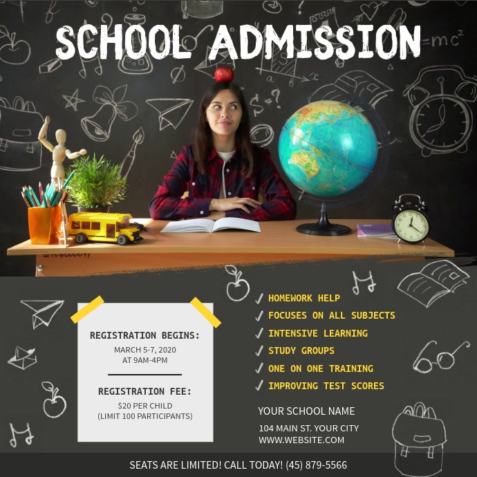 Grey Chalkboard Themed School Admission Squar