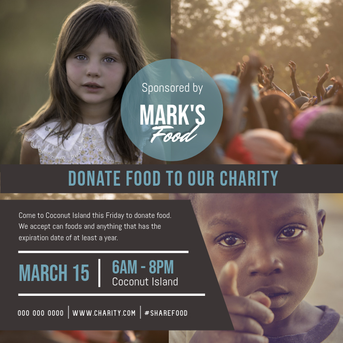 Grey Charity Donation Drive Instagram Image template