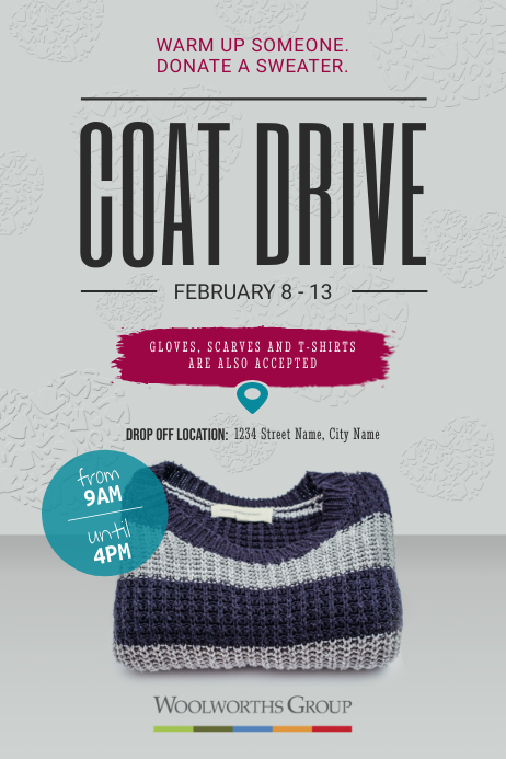 Grey Coat Drive Fundraising Poster template