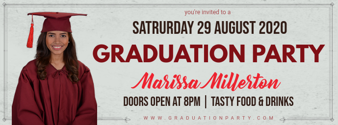 Grey Commencement Party Invitation Banner