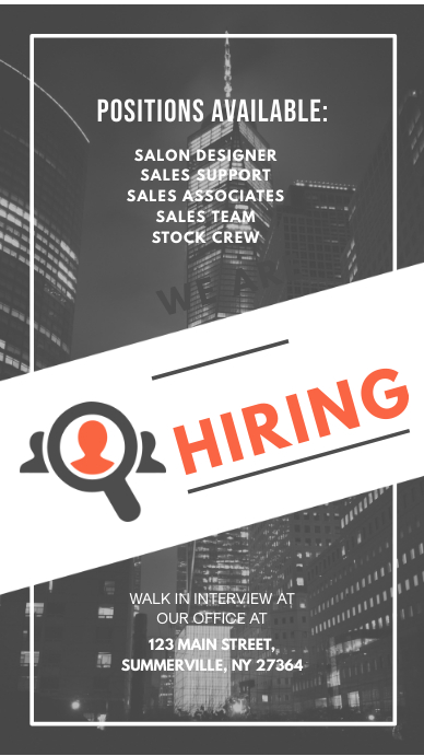 Grey Corporate Hiring Instagram Story Ad template