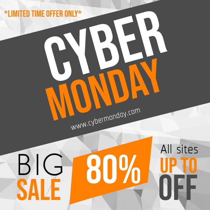 Grey Cyber Monday Square Video 方形(1:1) template