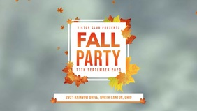 Grey Fall Party Facebook Cover Video template