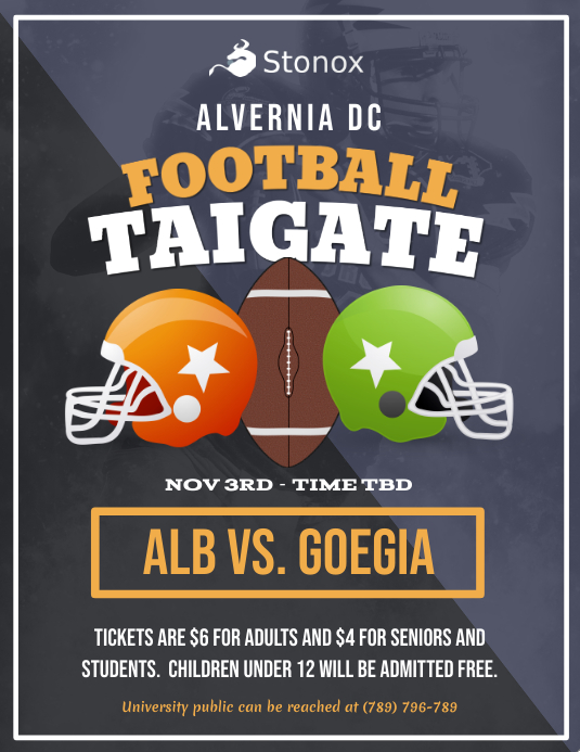 Grey Football Tailgate Party Flyer
