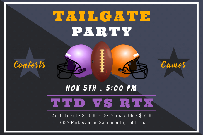 Grey Football Teams Tailgate Party Invitation