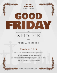 Grey Good Friday Flyer Folder (US Letter) template