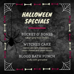 Grey Halloween Specials Menu Video Square (1:1) template